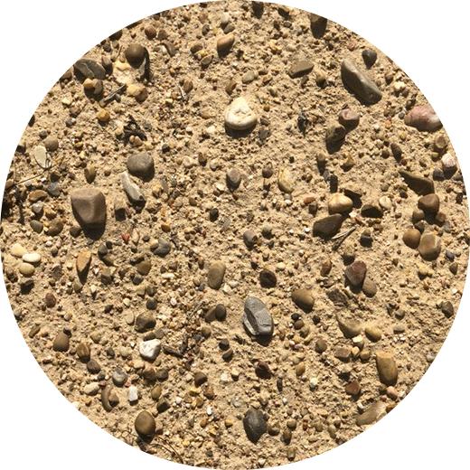 Limo, arena y gravas. Aluvial.